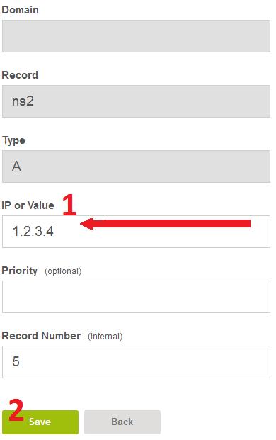 Другой IP для ns1/ns2